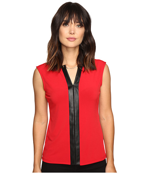 Calvin Klein Sleeveless Top w/ Faux Leather and Chain - Rouge