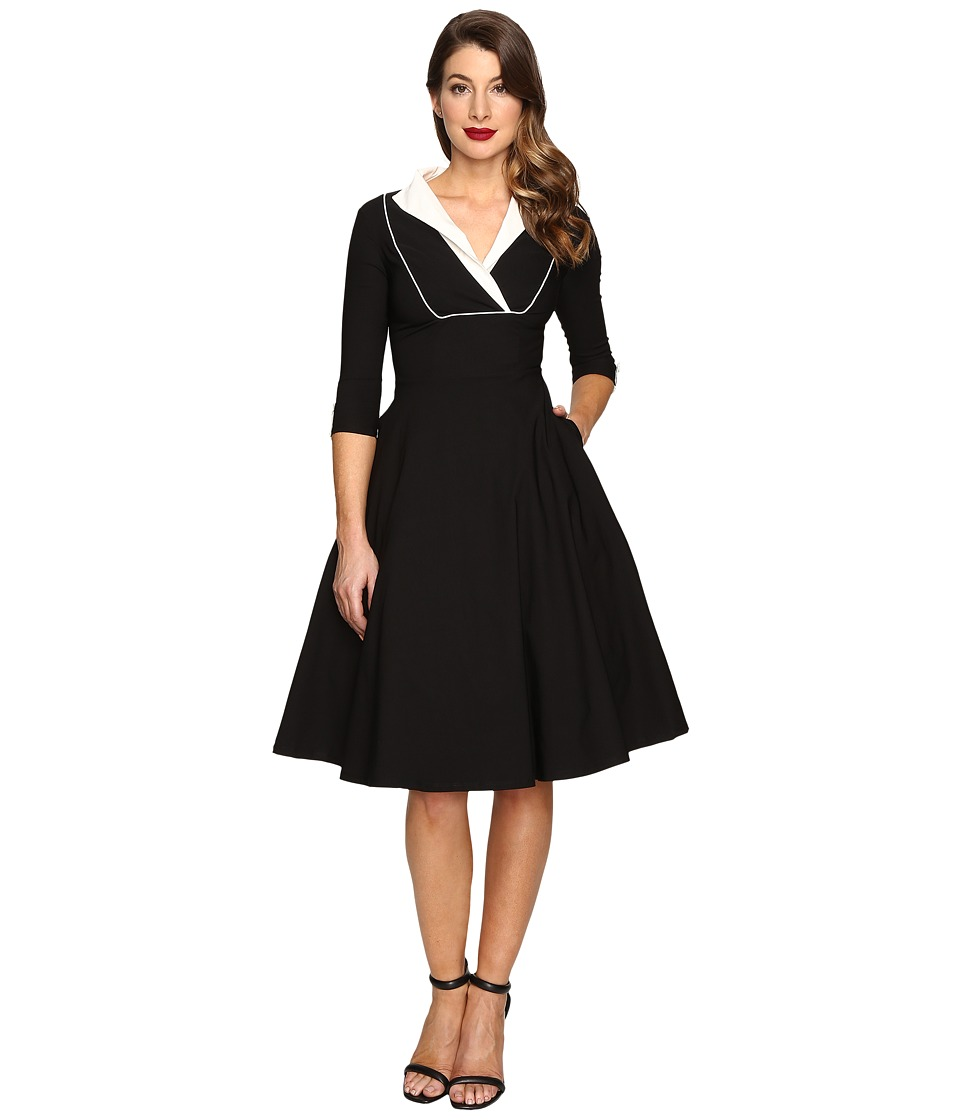 Unique Vintage Long Sleeve Collared Trudy Swing Dress (Black/White) Women