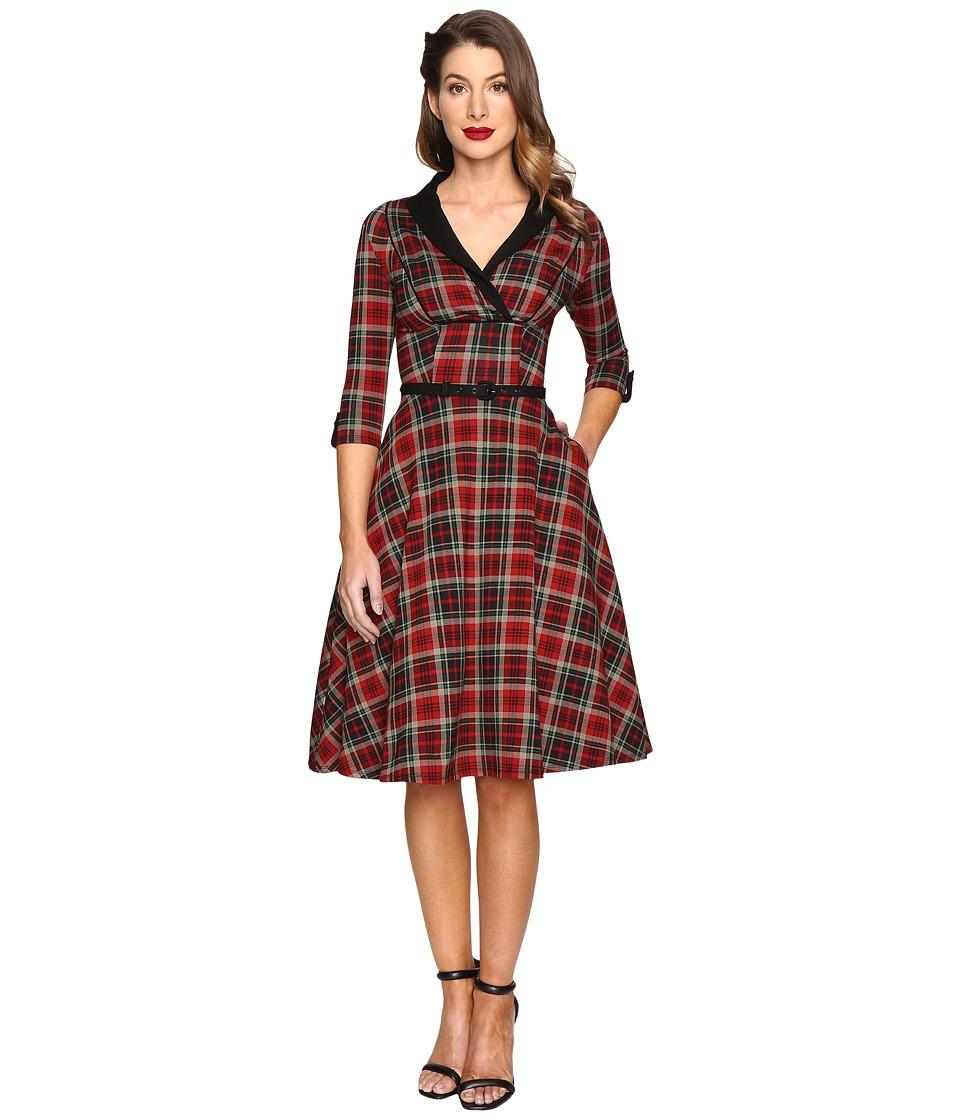 Unique Vintage Long Sleeve Collared Trudy Swing Dress (Burgundy/Black Plaid) Women