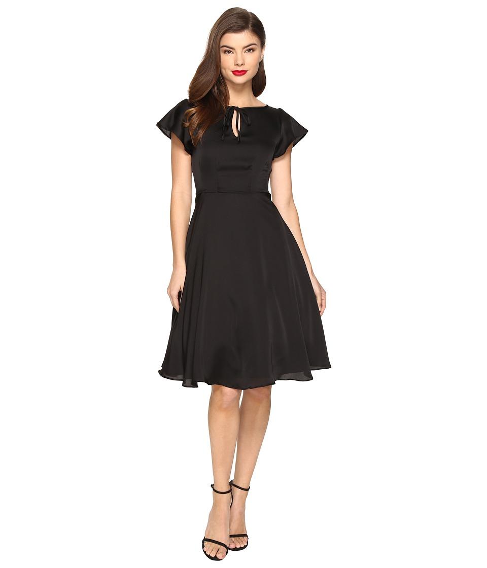 Unique Vintage Formosa Flutter Sleeve Dress (Solid Black) Women