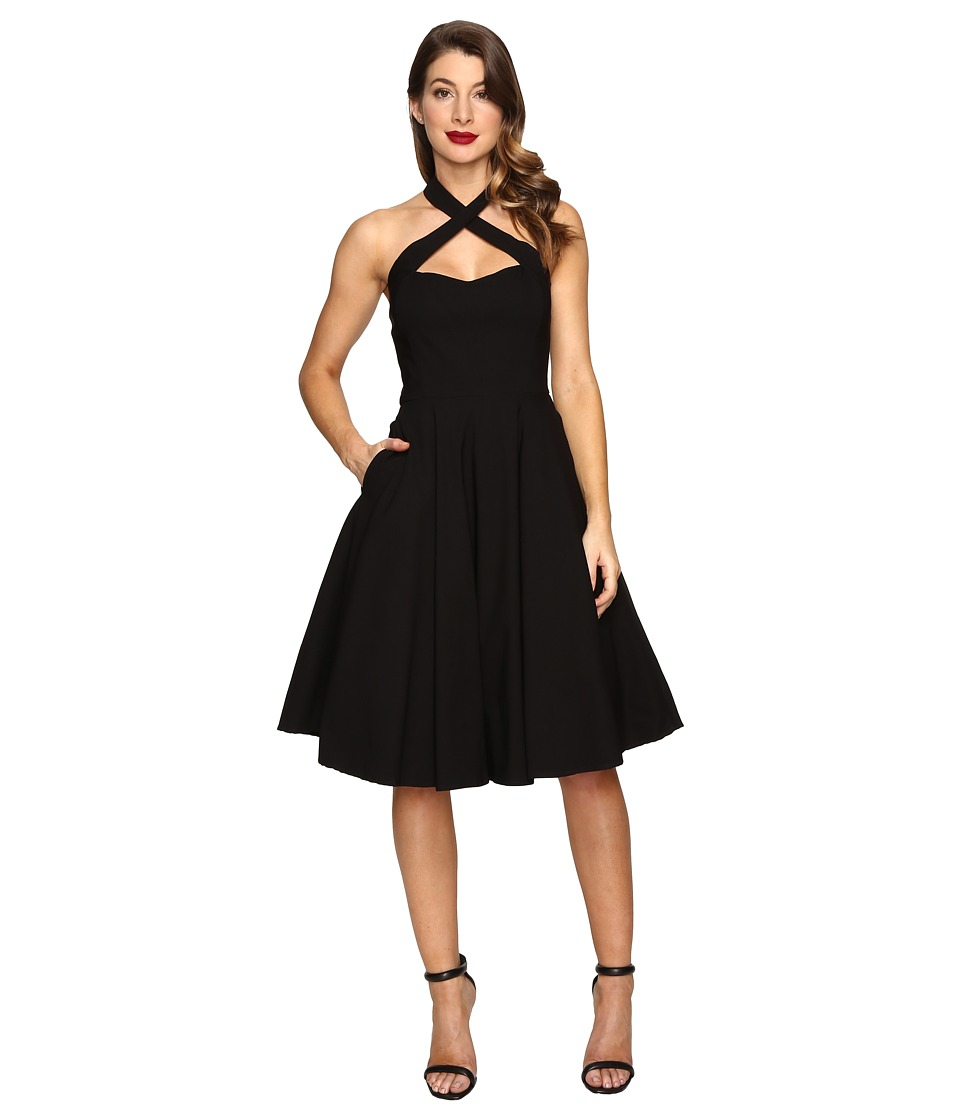 Unique Vintage Crisscross Neck Rita Swing Dress (Black) Women