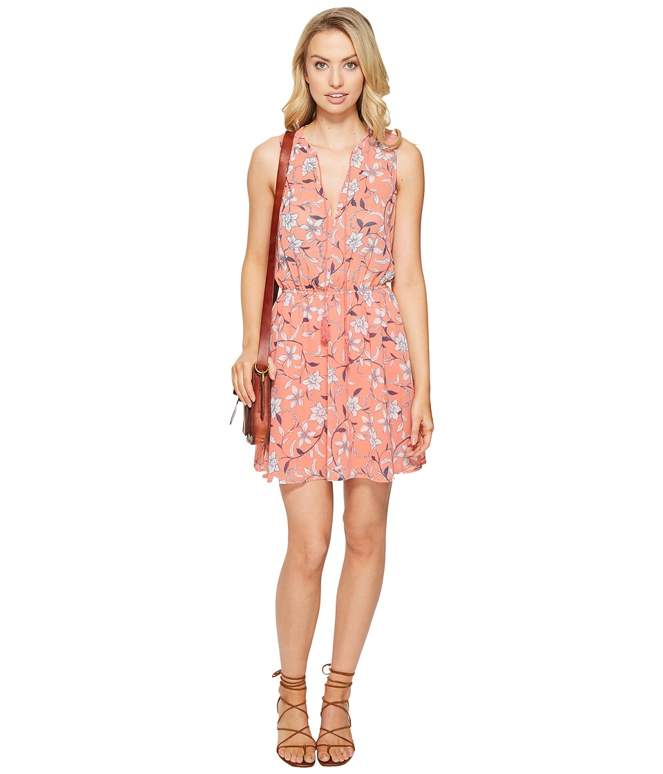 BB Dakota Adeen V-Neck Print Dress (Cantaloupe) Women