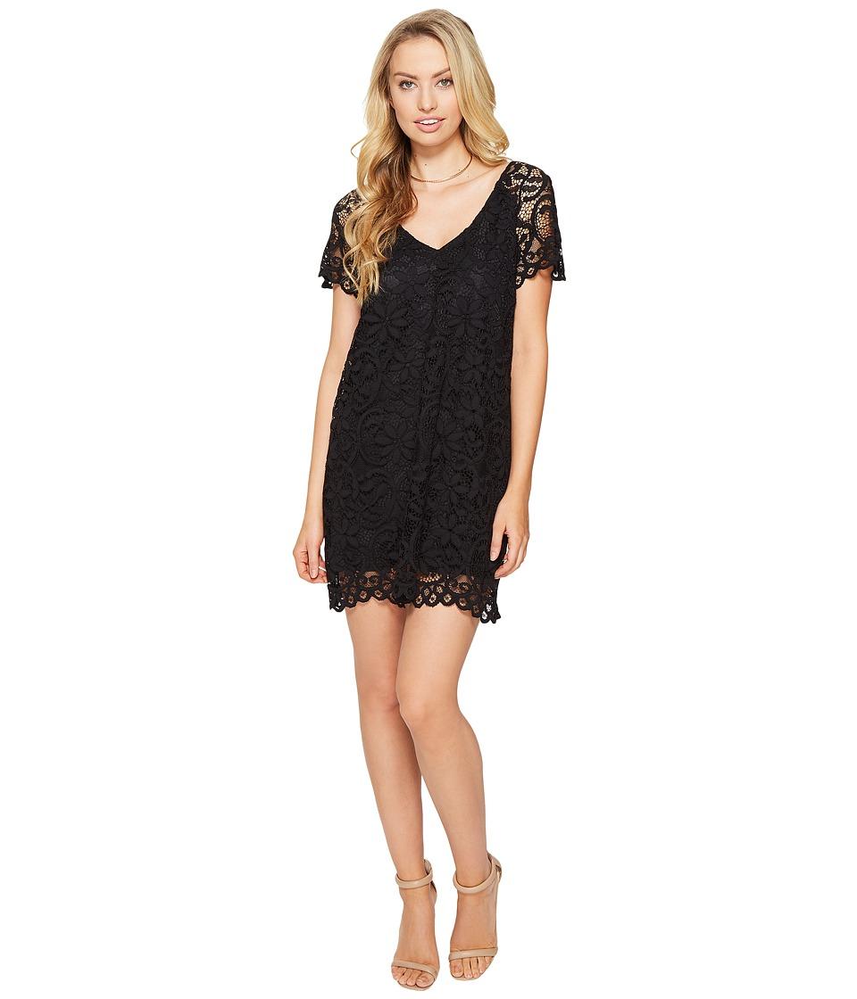 BB Dakota Rene V-Neck Lace Shift Dress (Black) Women