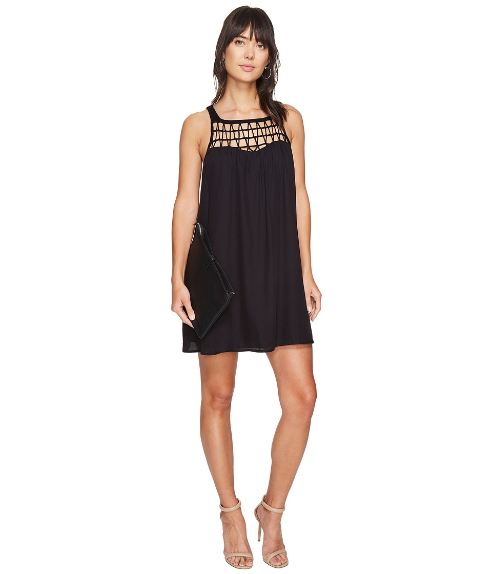 BB Dakota Astor Crochet Yoke Shift Dress (Black) Women