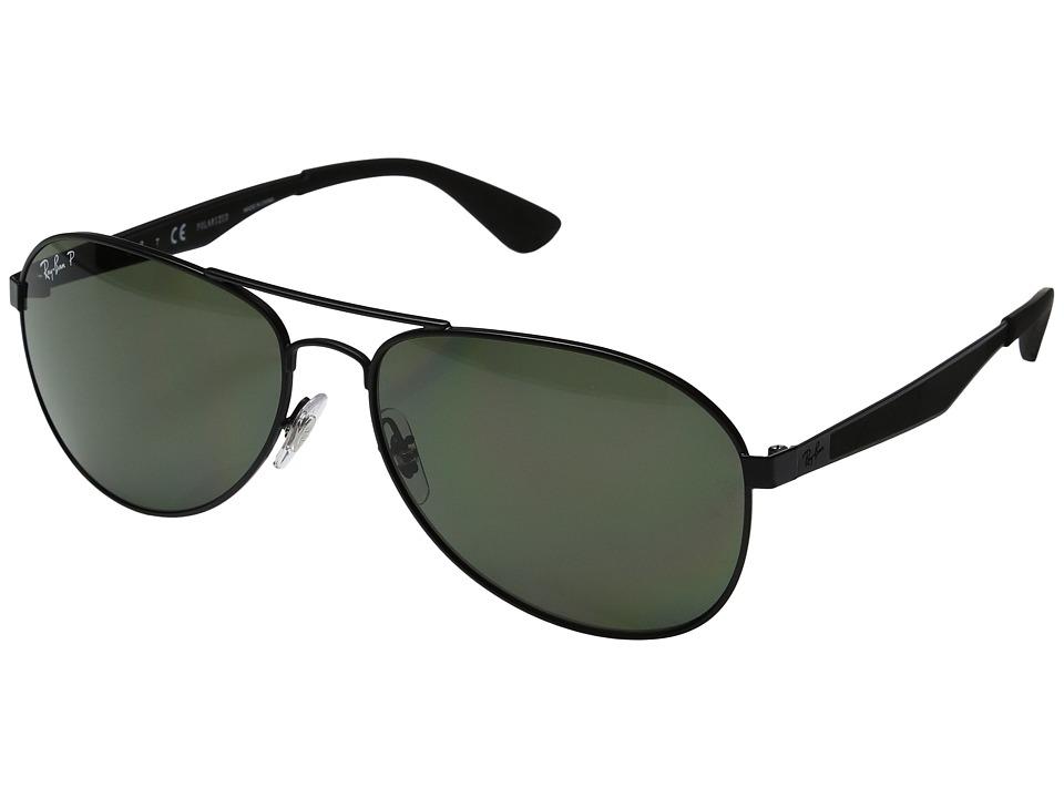 Ray-Ban 0RB3549 Polarized 61mm (Black/Green) Fashion Sung...