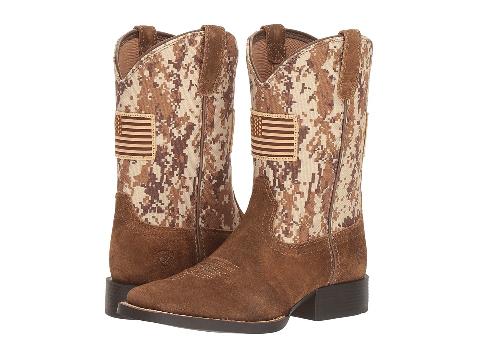 Ariat Kids - Patriot Antique (Toddler/Little Kid/Big Kid) (Mocha Washed Suede/Sand Camo Print) Cowboy Boots