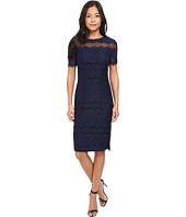 Sangria - Short Sleeve Textured Lace Sheath