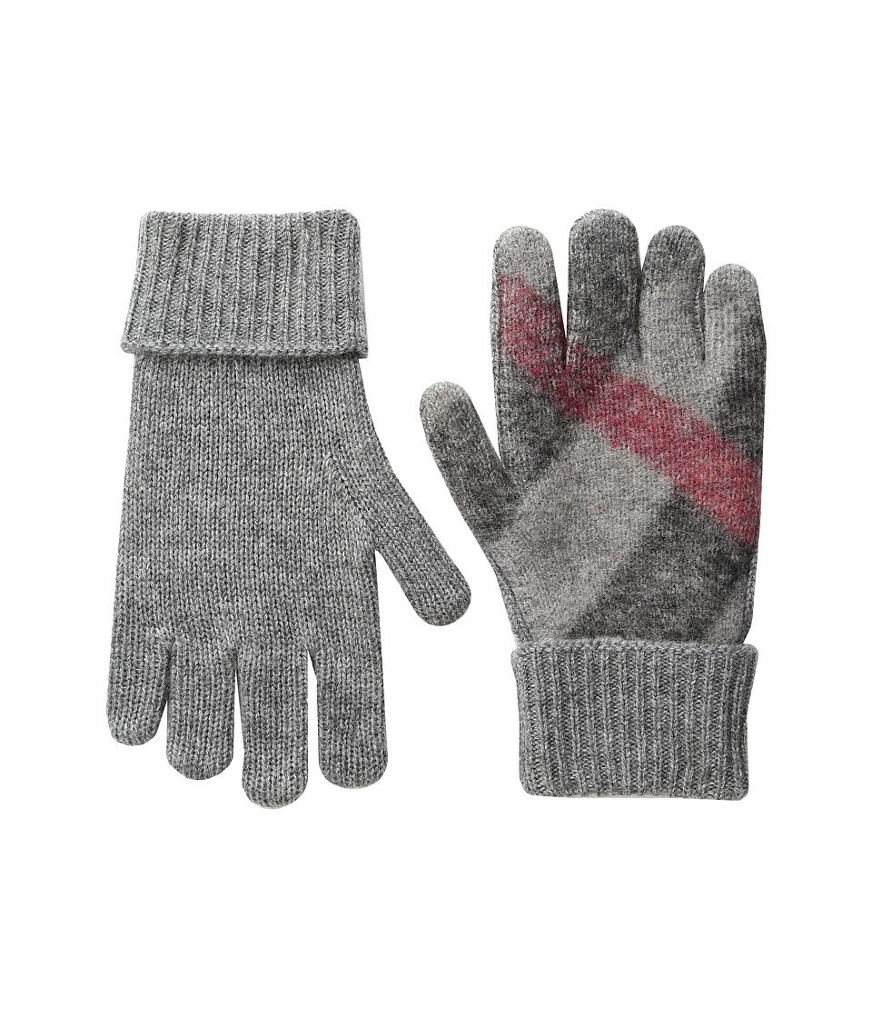 Burberry Kids Needlepunch Gloves (Little Kids/Big Kids) (Light Grey Melange) Extreme Cold Weather Gloves