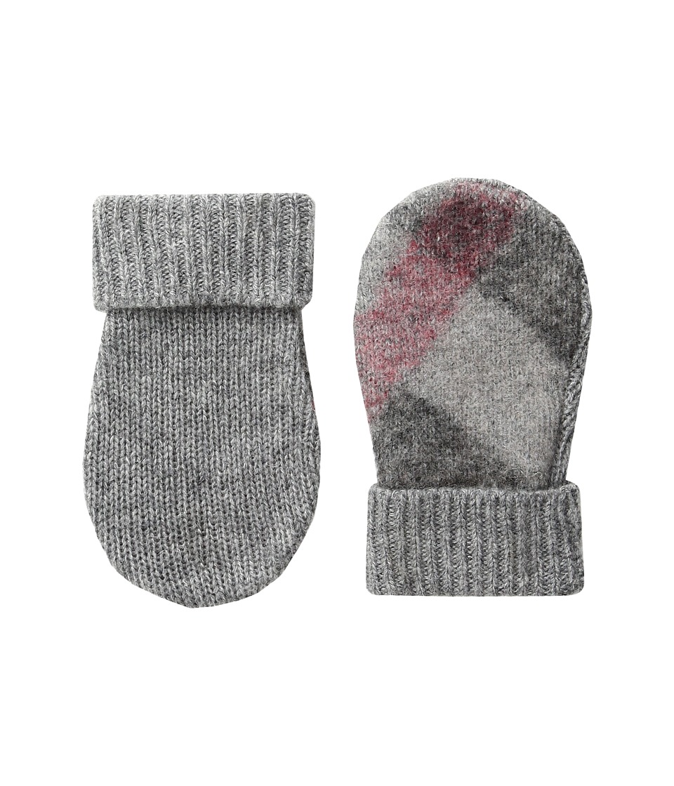 Burberry Kids - Needlepunch Mittens (Little Kids/Big Kids) (Light Grey Melange) Extreme Cold Weather Gloves