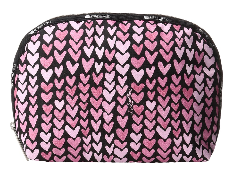 LeSportsac Half Moon Cosmetic (Painted Hearts Pink) Cosmetic Case
