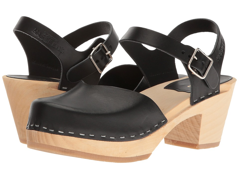 Swedish Hasbeens Covered High (Black) Women's Clog Shoes