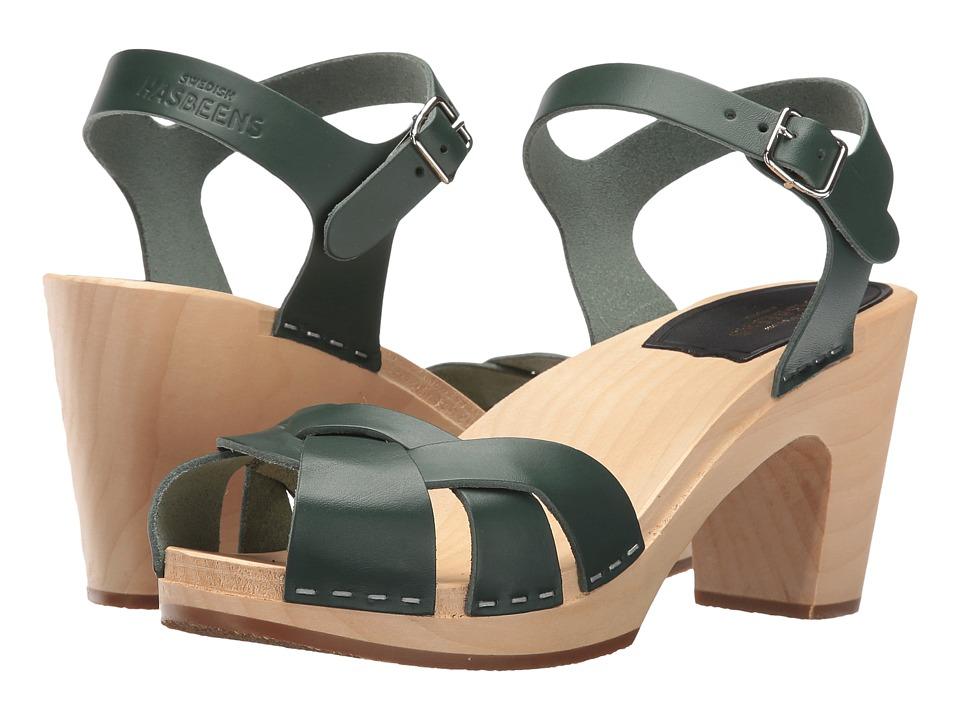 Swedish Hasbeens Kringlan (Deep Green) High Heels