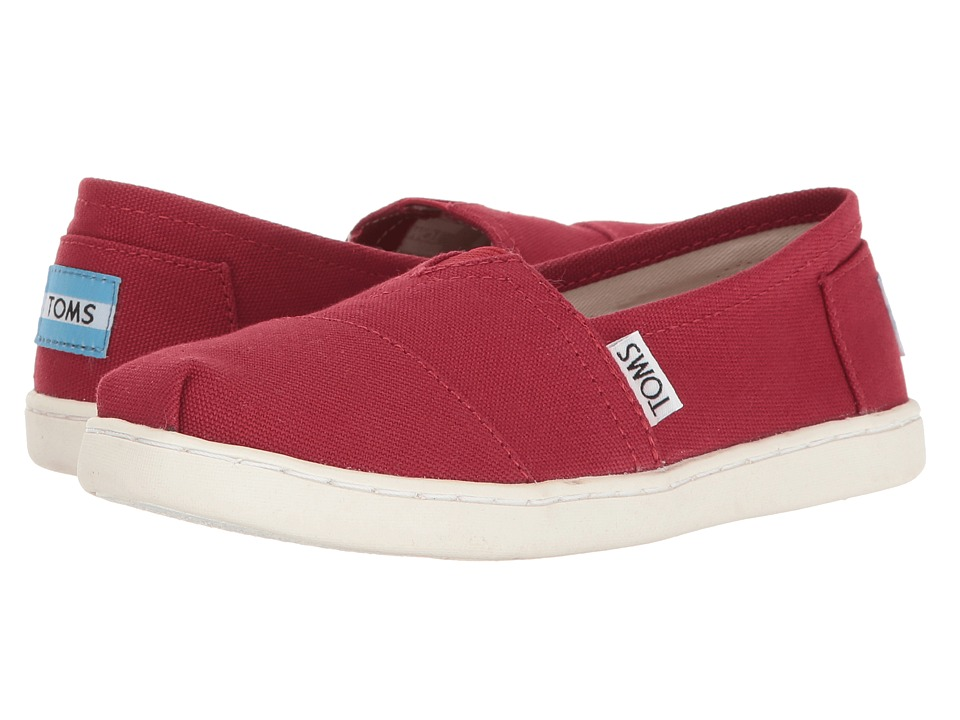 TOMS Kids Alpargata 2.0 (Little Kid/Big Kid) (Red Canvas) Kid's Shoes