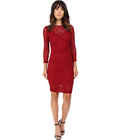 Nicole Miller - Swirling Rose Illusion V-Neck Lace Dress