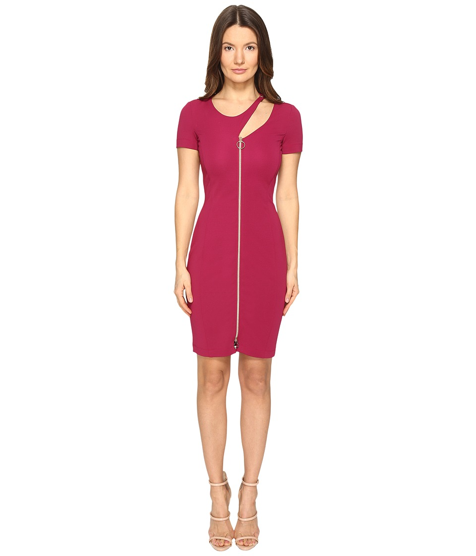 Versace Jeans Short Sleeve Zip Front Cut Out Dress (Sangria 1) Women