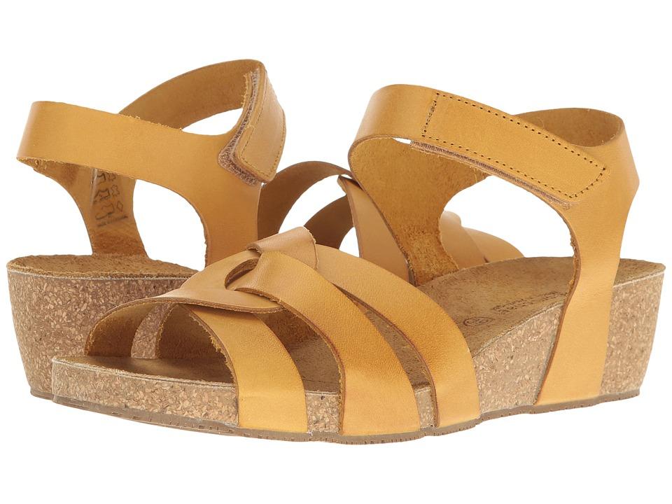 Vintage Sandal History: Retro 1920s to 1970s Sandals Eric Michael Millie Yellow Womens Shoes $89.95 AT vintagedancer.com