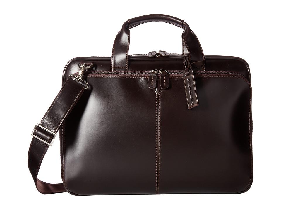 Johnston & Murphy Laptop Briefcase (Mahogany) Briefcase Bags