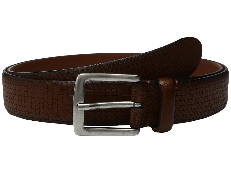 Johnston & Murphy - Cross Hatch Laser - Cut Belt (Tan) Mens Belts