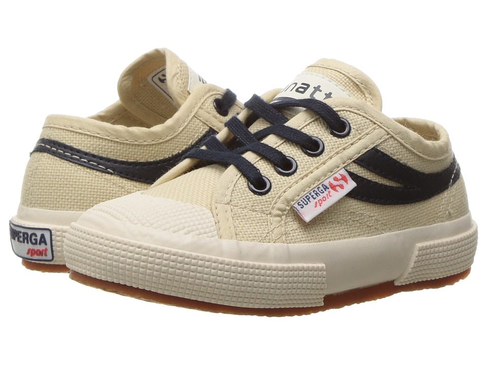 Superga Kids 2750 JCOT Panatta (Infant/Toddler/Little Kid/Big Kid) (Ecru/Navy Canvas) Kids Shoes