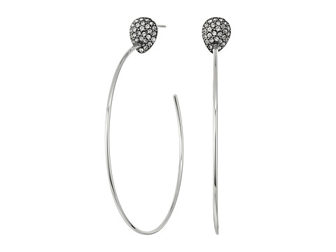 Cole Haan Pave Teardrop C Hoop Earrings - Rhodium/Crystal