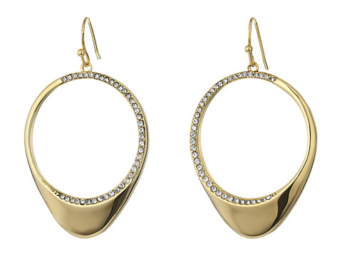 Cole Haan Half Pave Open Teardrop Earrings - Gold/Crystal