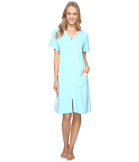 Eileen West Long Sleeve Short Zip Robe - Aqua