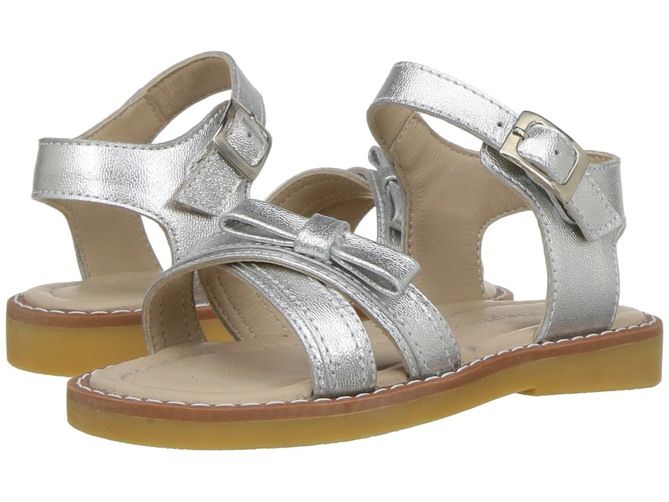 Elephantito Lili Crossed Sandal w/Bow (Toddler/Little Kid) (Silver) Girls Shoes