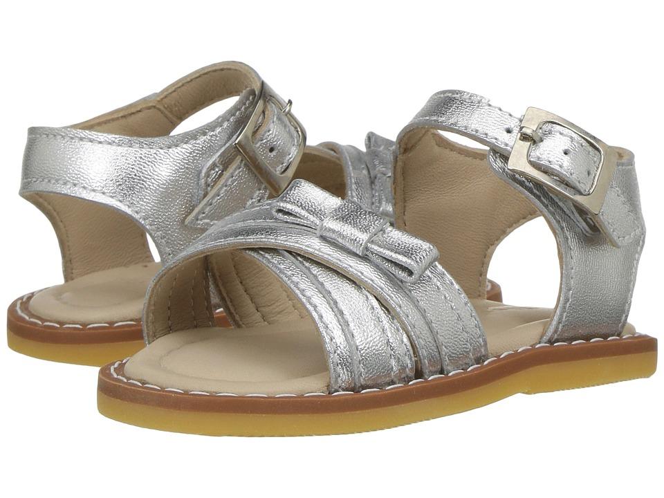 Elephantito Lili Crossed Sandal w/Bow (Toddler) (Silver) Girls Shoes