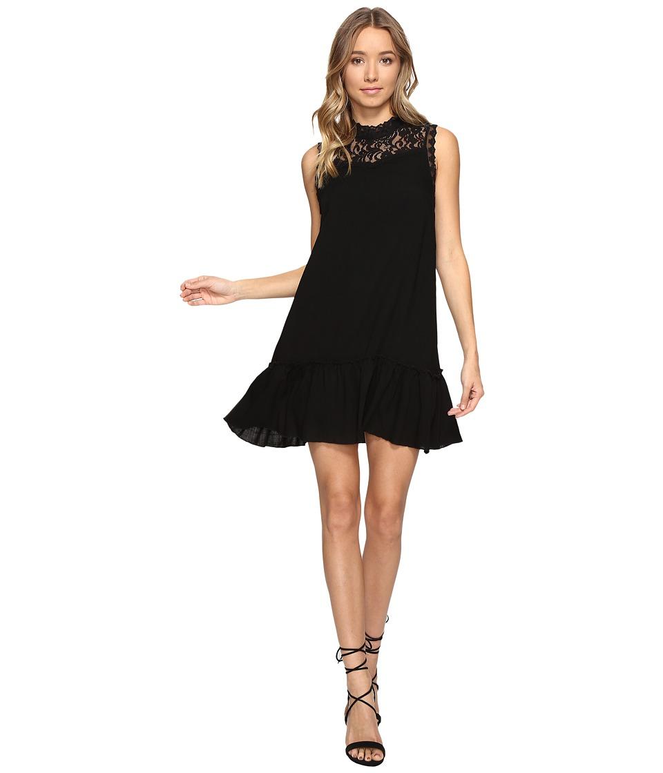 Jack by BB Dakota Barnes Slub Gauze Lace Dress with Ribbon Trim (Black) Women
