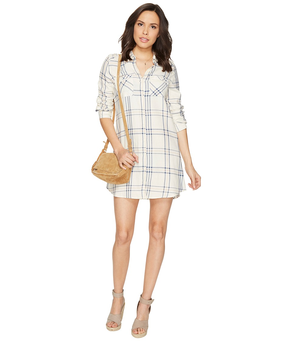 Jack by BB Dakota - Seymour Soft Plaid Tape Trim Long Sleeve Dress