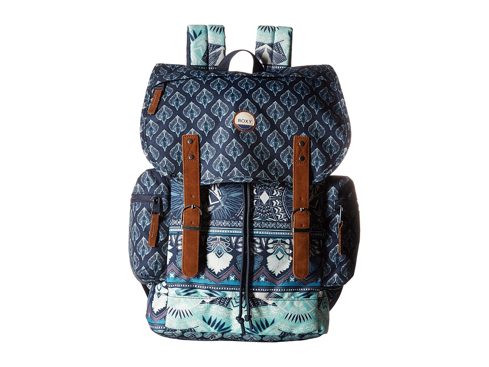 Roxy Free For Sun Backpack (Dress Blue Ax Hippie Hop Border) Backpack Bags