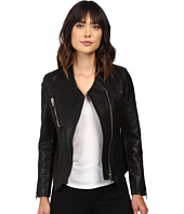 Blank NYC - Vegan Leather Collarless Jacket with Zipper Detail in Power Trip