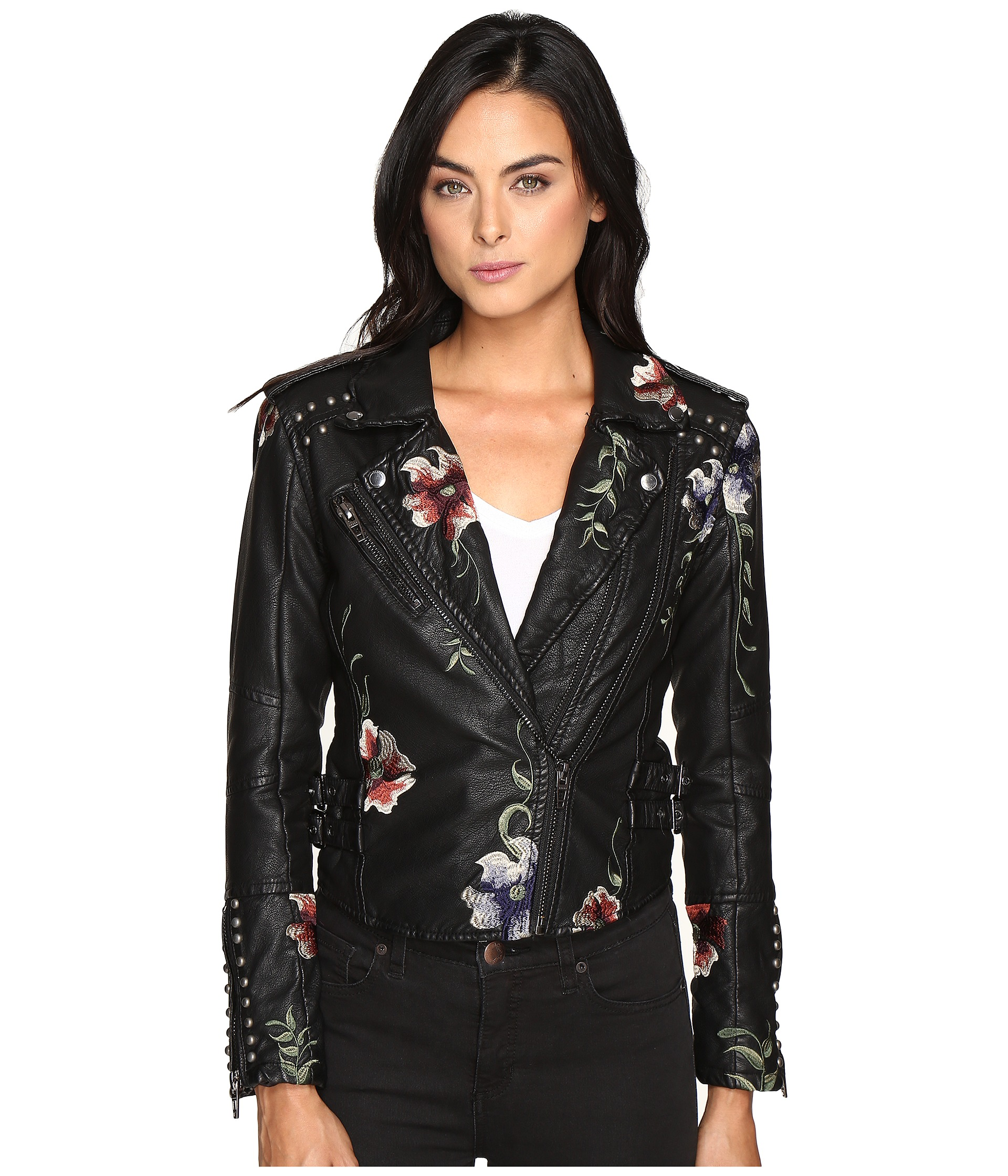 Blank NYC Embroidered Floral Detail Studded Moto Jacket In