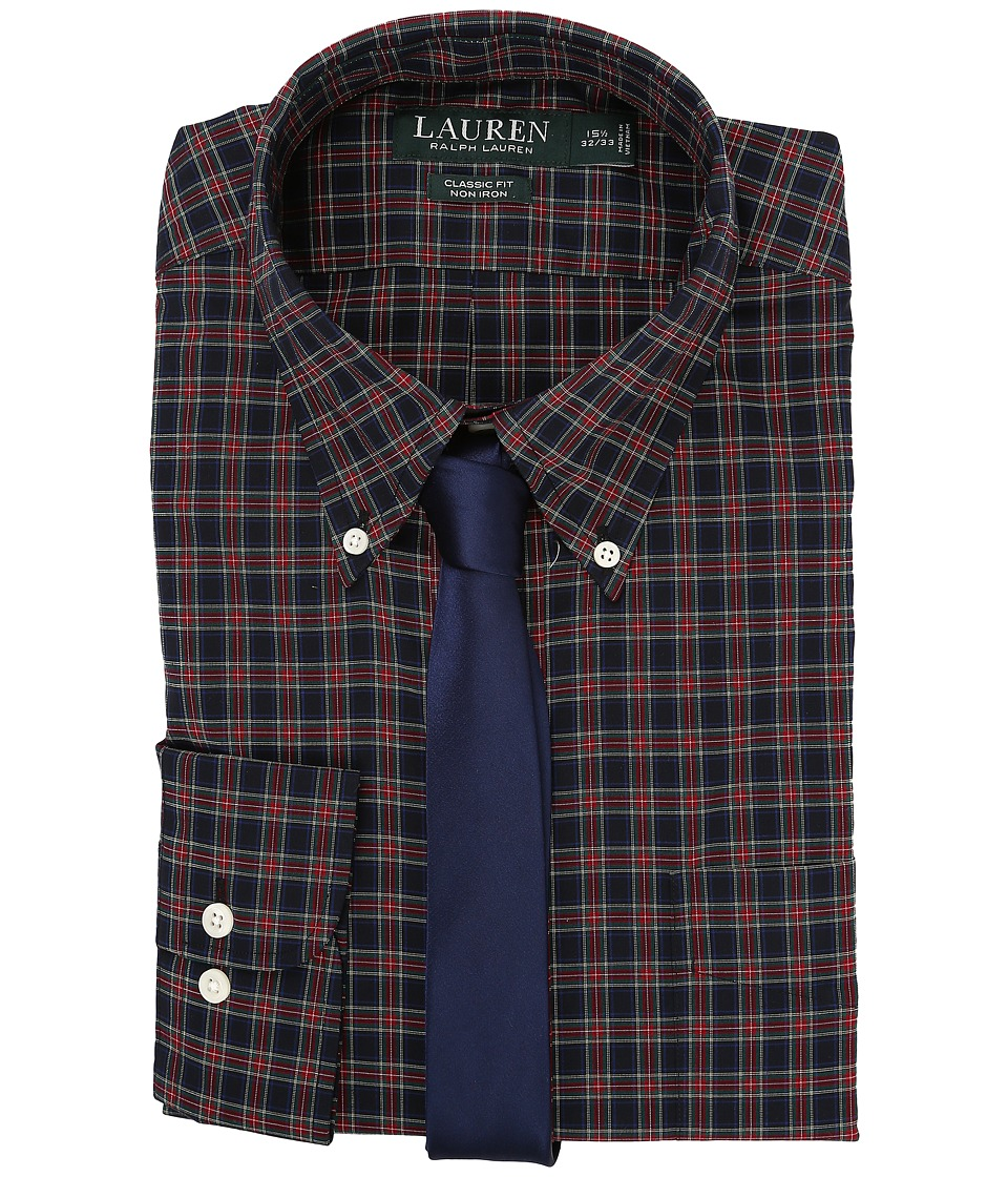 Ralph Lauren Poplin Checks Classic Dress Shirt (Navy/Red)...