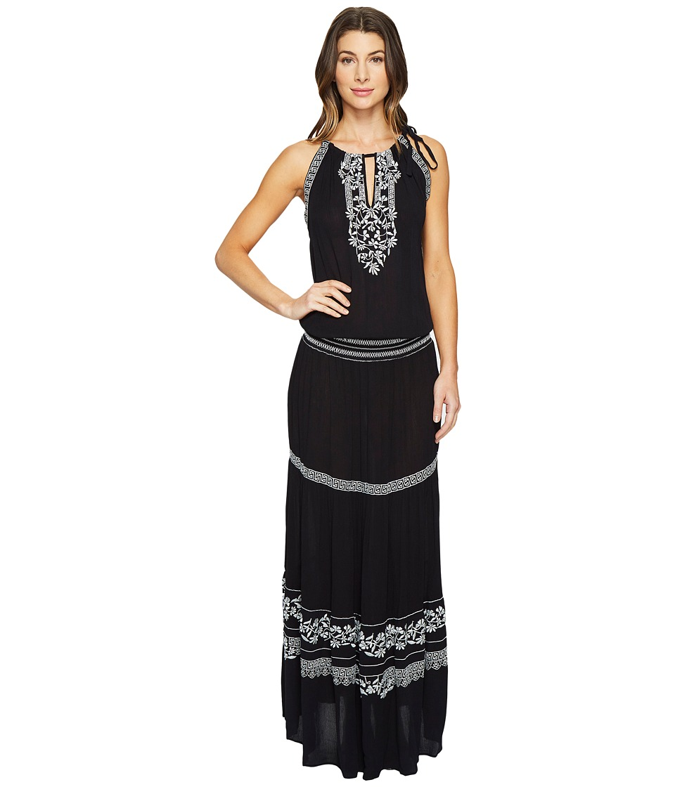 Hale Bob Seas The Day Embroidered Crinkle Rayon Gauze Maxi Dress (Black) Women