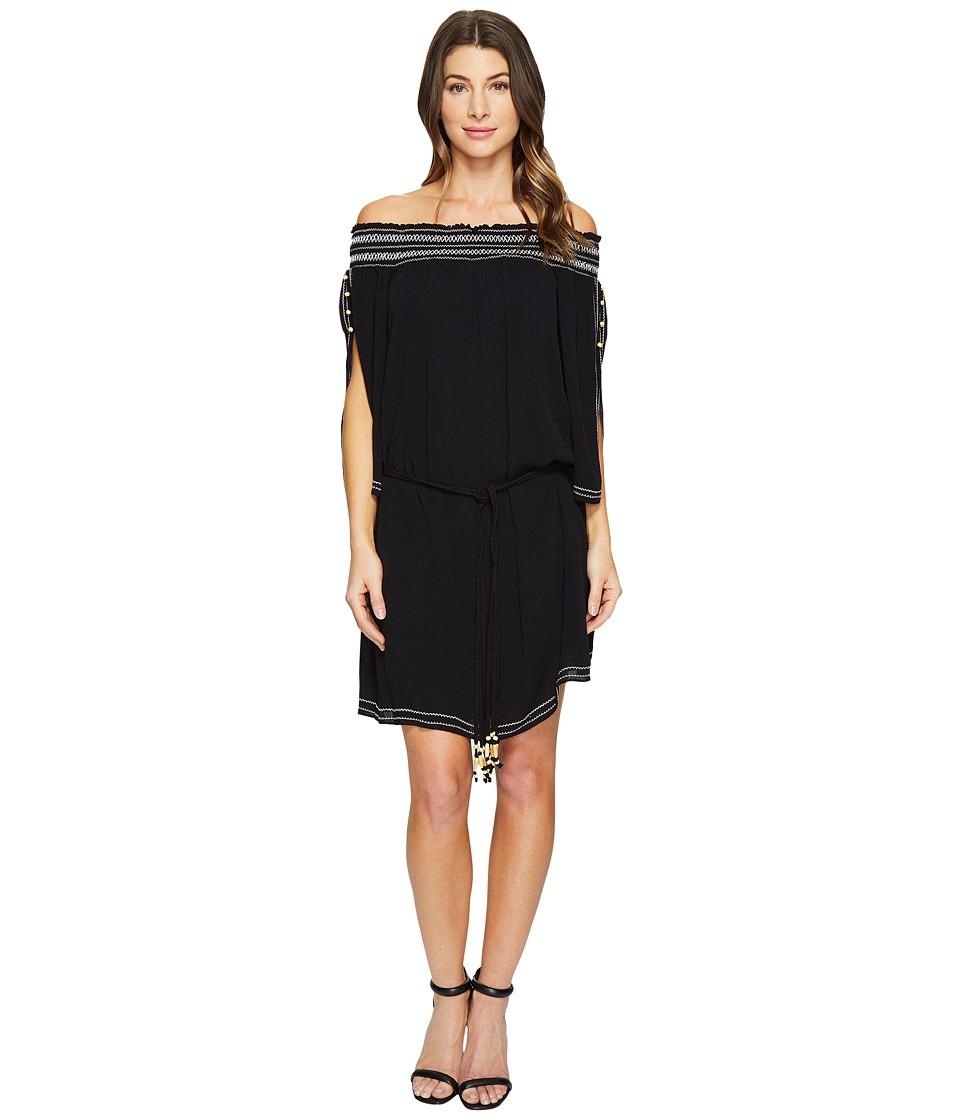 Hale Bob A Place In The Sun Crinkle Rayon Gauze Off Shoulder Dress (Black) Women