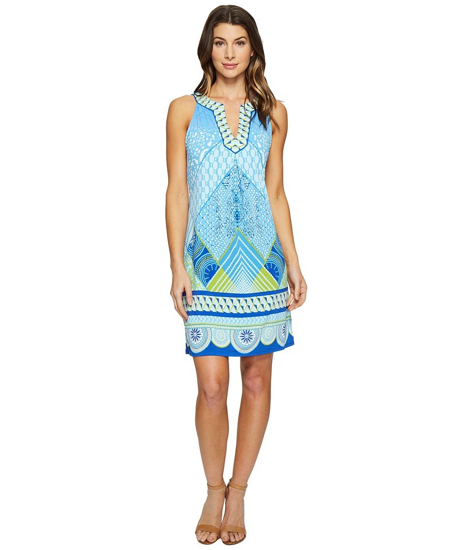 Hale Bob Graphic Jungle Microfiber Jersey Sleeveless Dress (Blue) Women