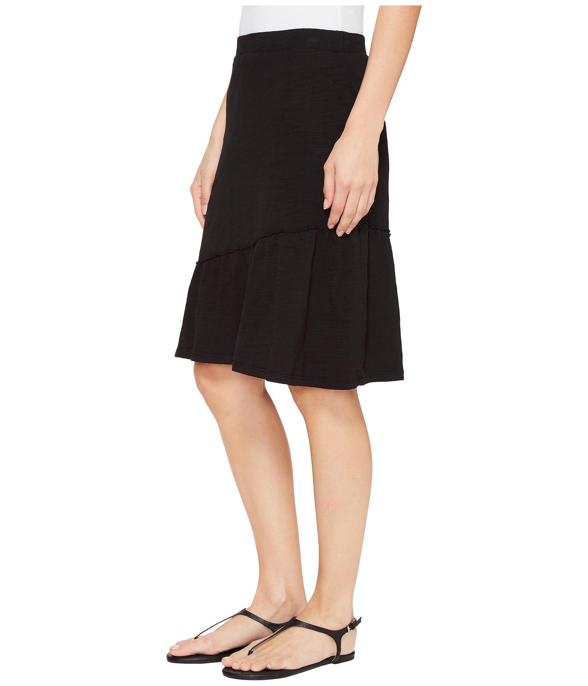Mod-o-doc Slub Jersey Short Skirt with Asymmetrical Ruffle ...