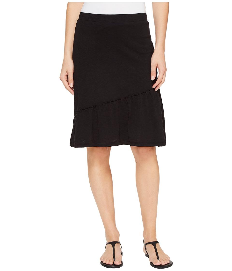 Mod-o-doc Slub Jersey Short Skirt with Asymmetrical Ruffle (Black) Women
