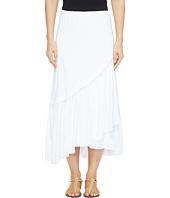 Mod-o-doc - Slub Jersey Asymmetrical Ruffle Hem Midi Skirt