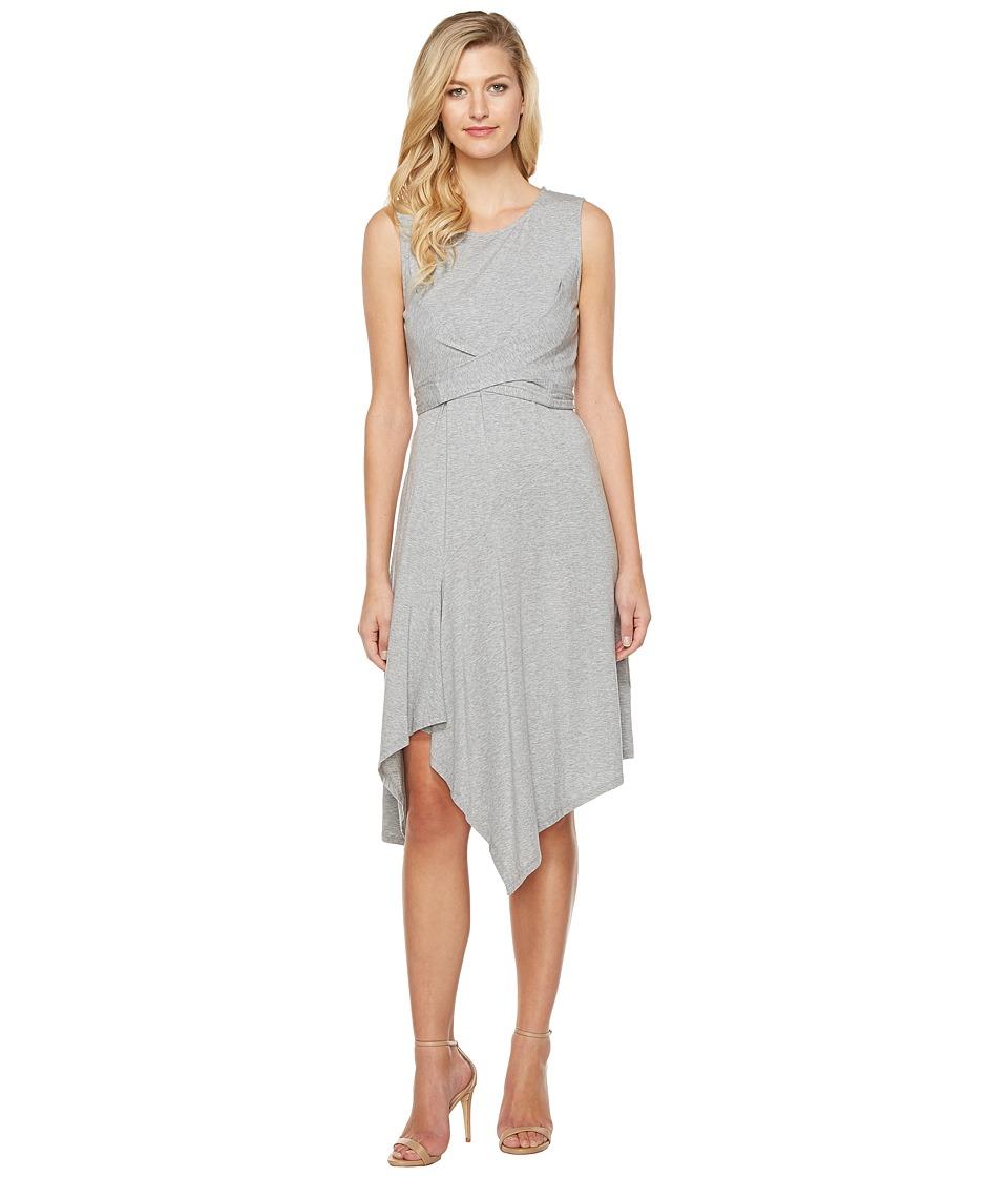 Mod-o-doc Cotton Modal Spandex Jersey Faux Wrap Tie Back Dress (Smoke Heather) Women