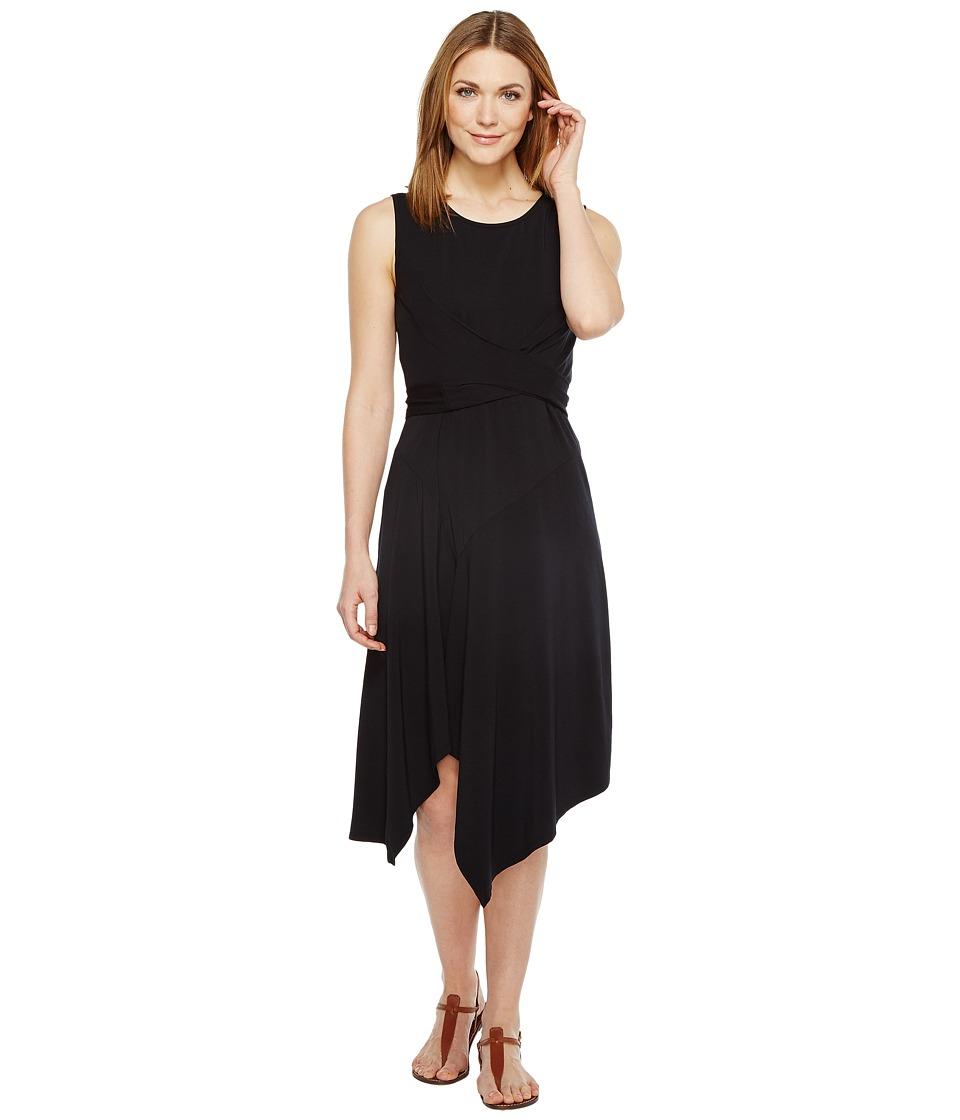 Mod-o-doc Cotton Modal Spandex Jersey Faux Wrap Tie Back Dress (Black) Women