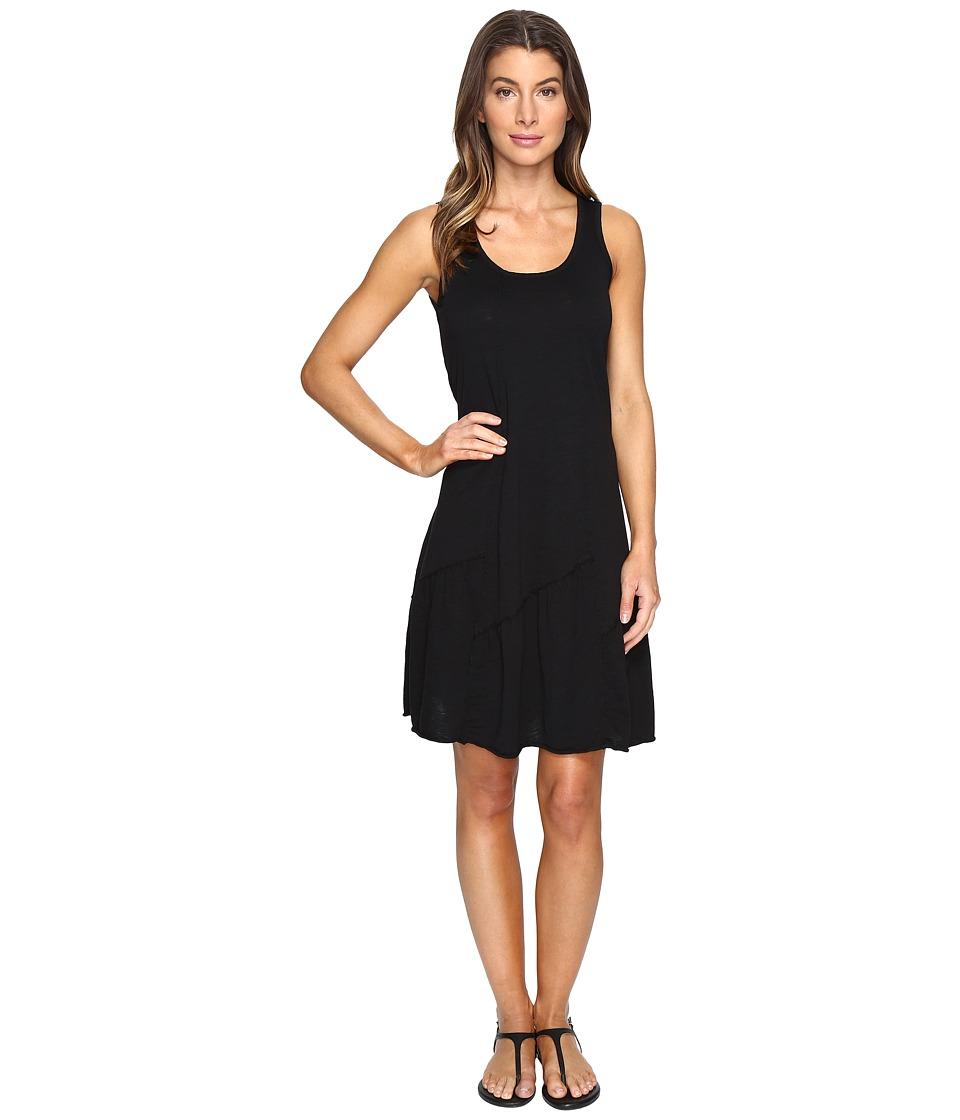 Mod-o-doc Slub Jersey Tank Dress with Shirred Asymmetrical Seam (Black) Women
