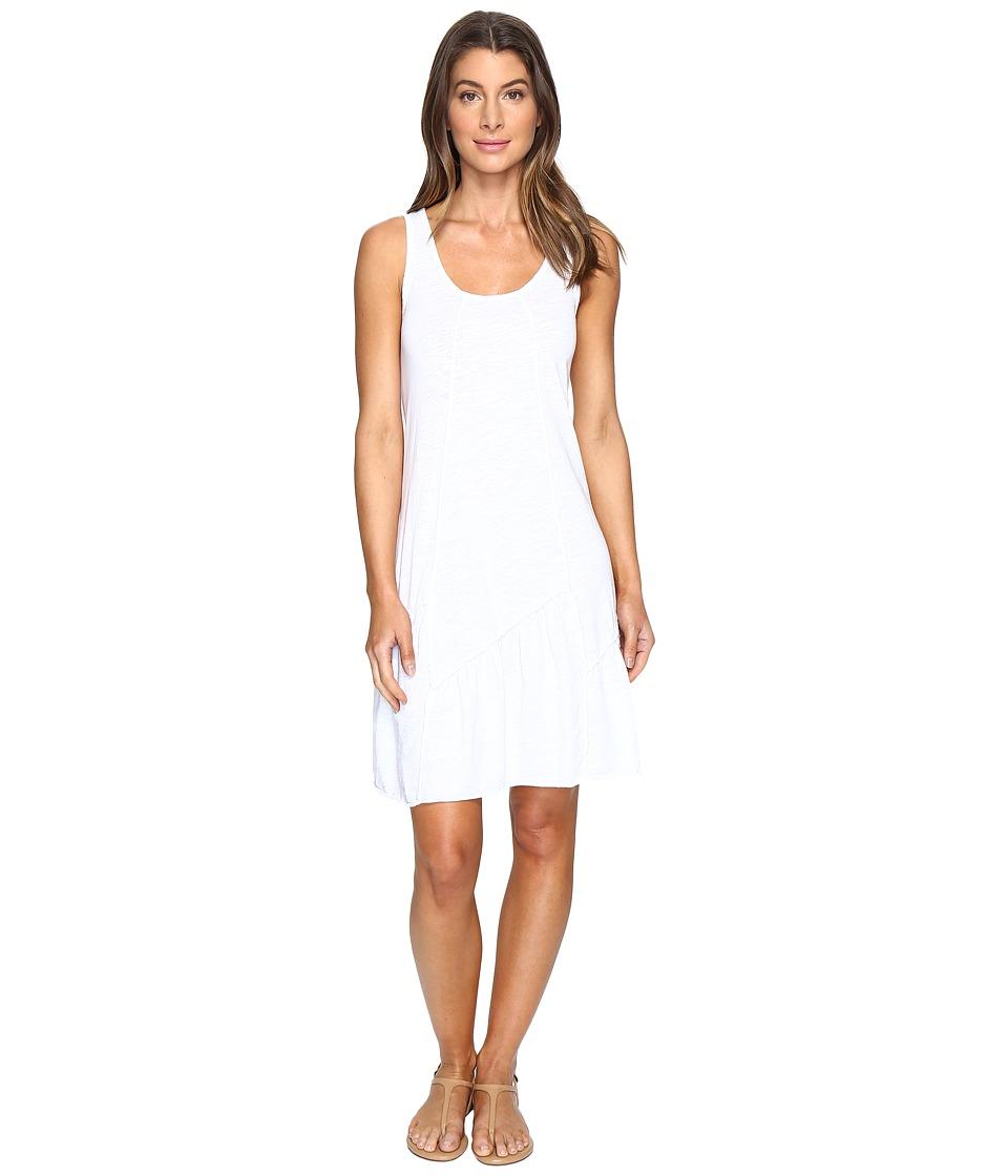 Mod-o-doc Slub Jersey Tank Dress with Shirred Asymmetrical Seam (White) Women