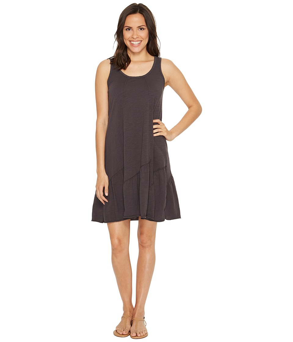 Mod-o-doc Slub Jersey Tank Dress with Shirred Asymmetrical Seam (Dark Nickel) Women
