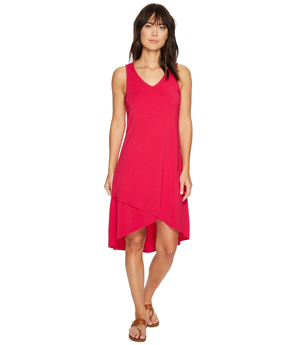Mod-o-doc Cotton Modal Spandex Jersey Crossover Hem Dress (Berry Red) Women