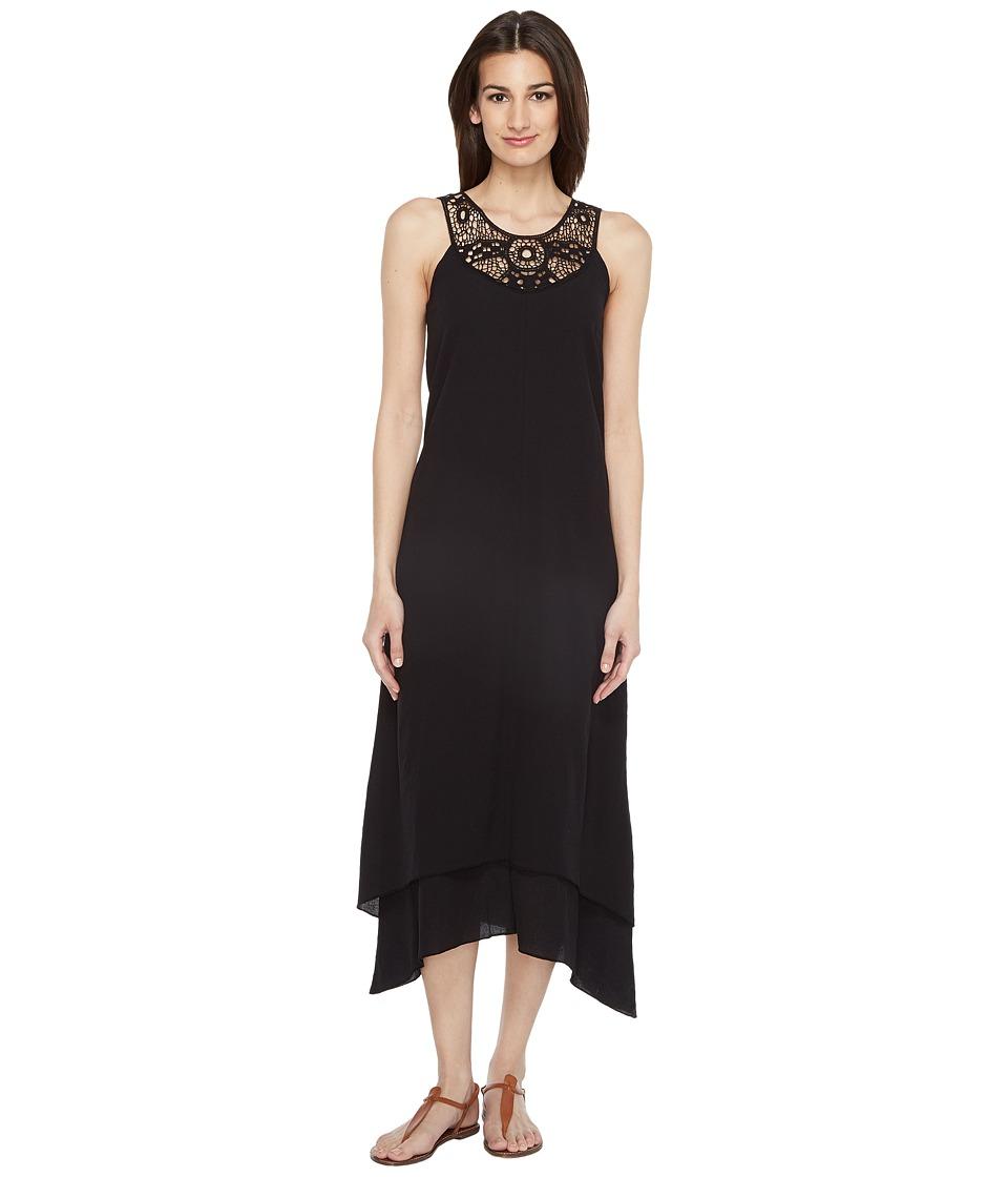 Mod-o-doc Crinkle Cotton Crochet Slip Dress (Black) Women