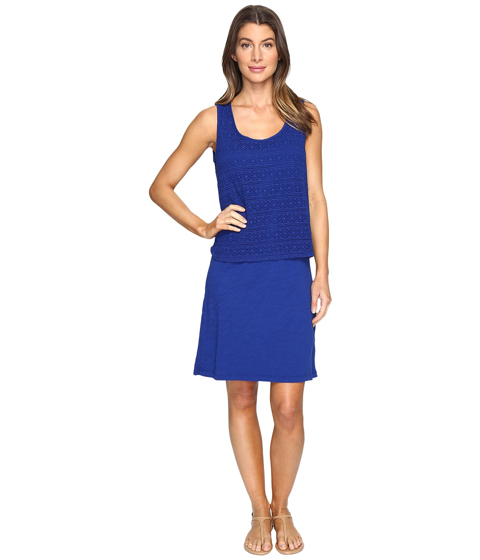 Mod-o-doc Slub Jersey Lace Layover Tank Dress (Nautical) Women