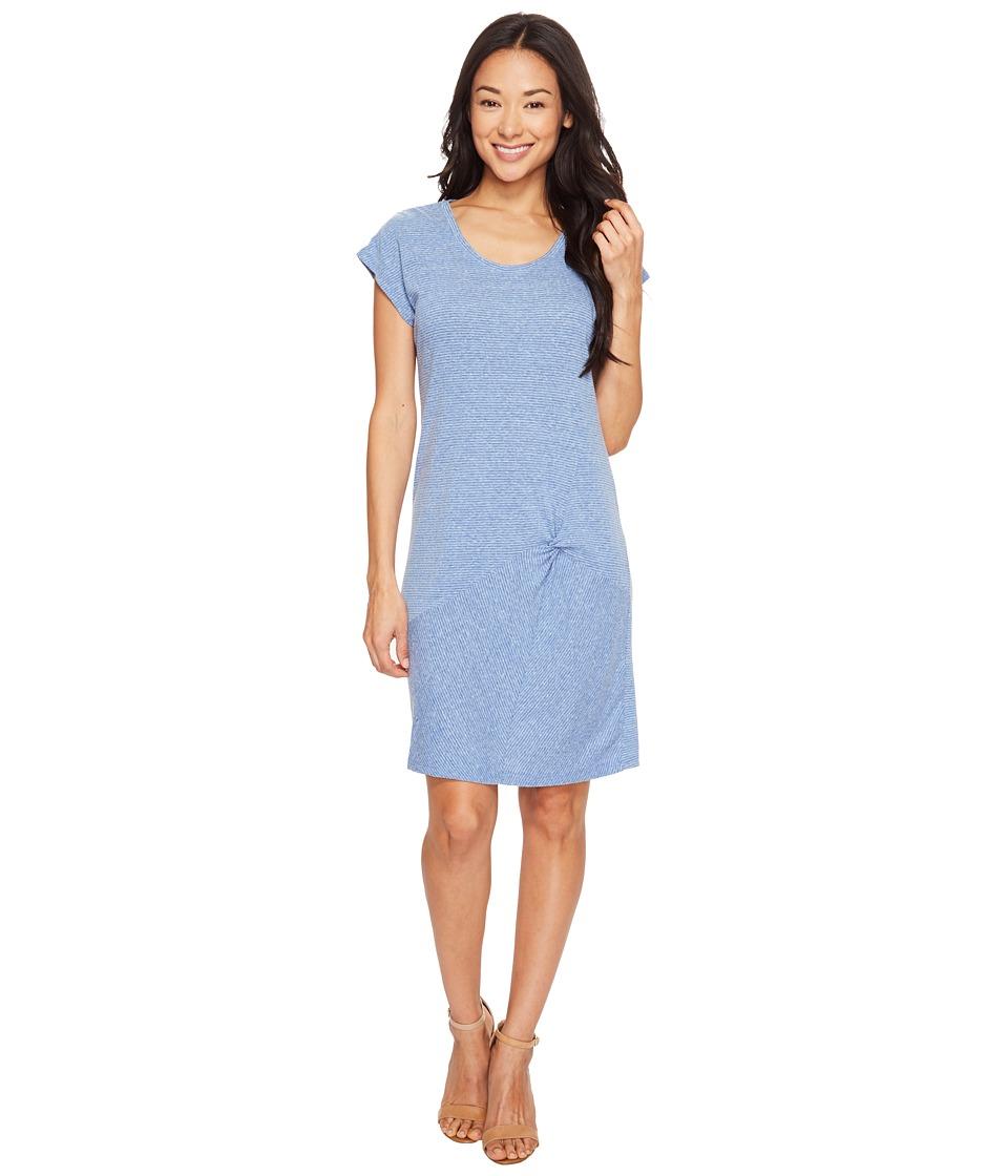 Mod-o-doc Pinstripe Jersey Asymmetrical Twist Front T-Shirt Dress (Blue) Women