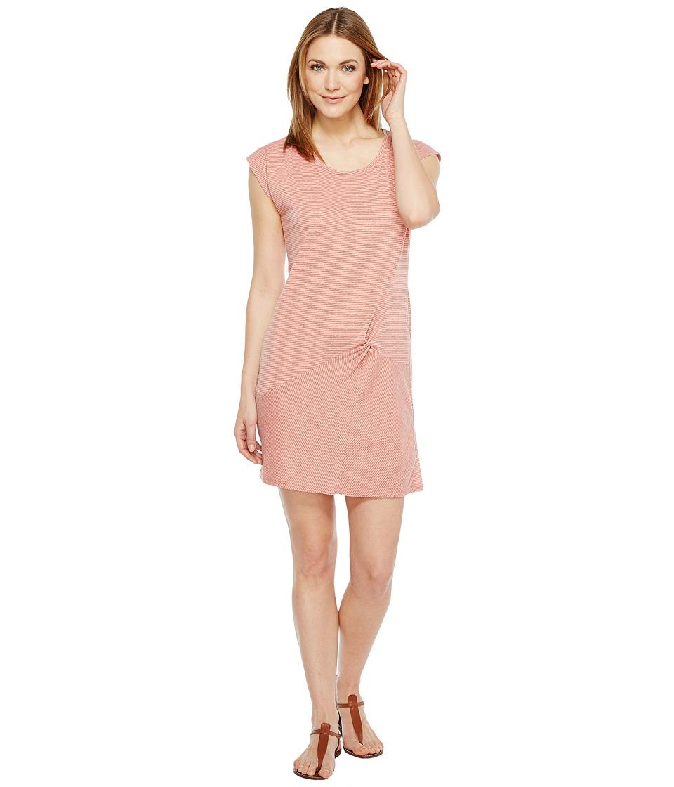 Mod-o-doc Pinstripe Jersey Asymmetrical Twist Front T-Shirt Dress (Coral) Women